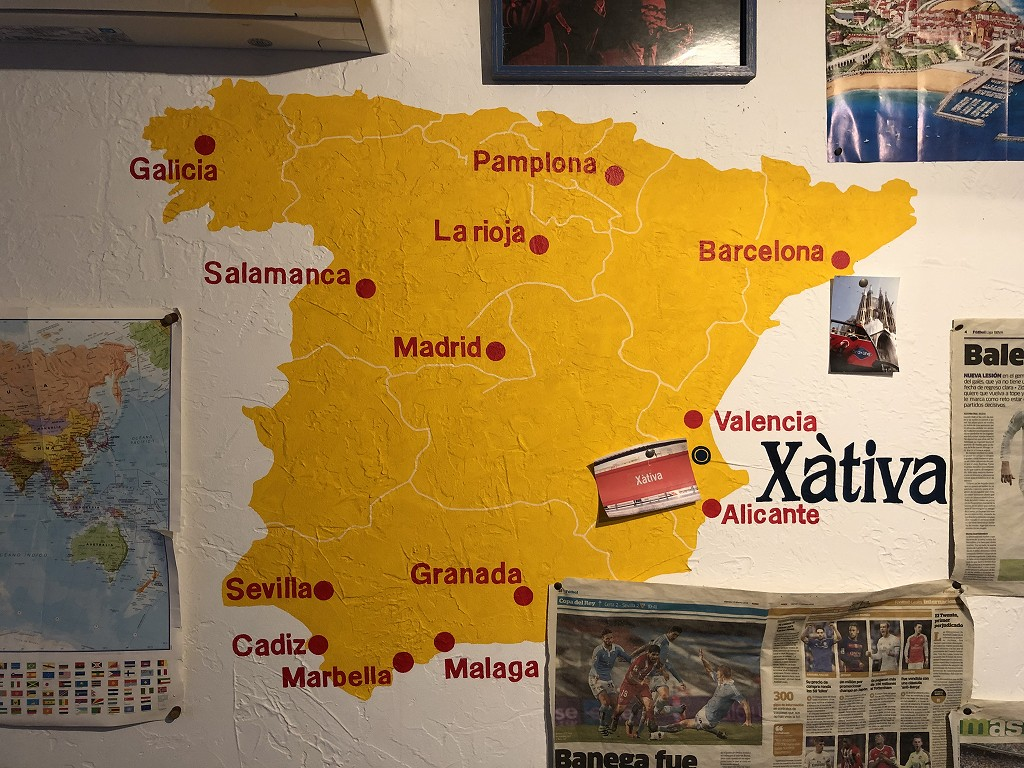 スペインのシャティバの位置