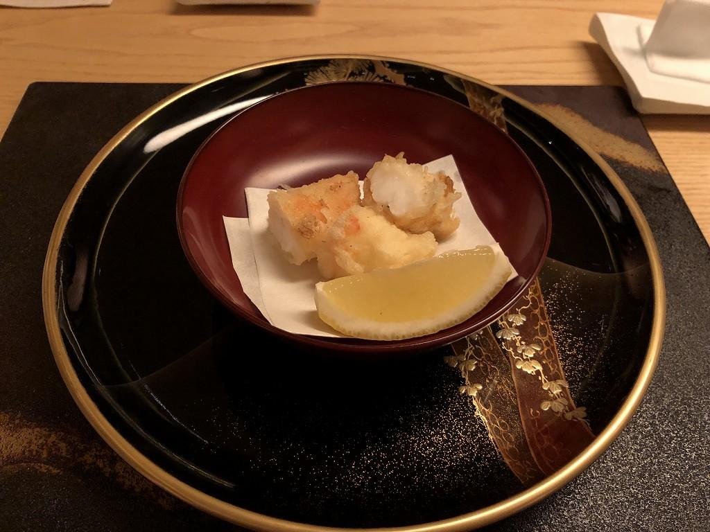 リッツカールトン京都の水暉のボタンエビの天ぷら