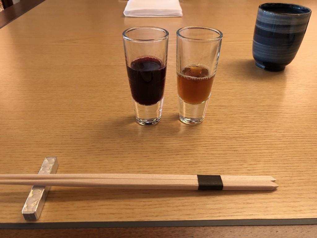 リッツカールトン京都の水暉の沖縄のもろみ酢とぶどうジュース