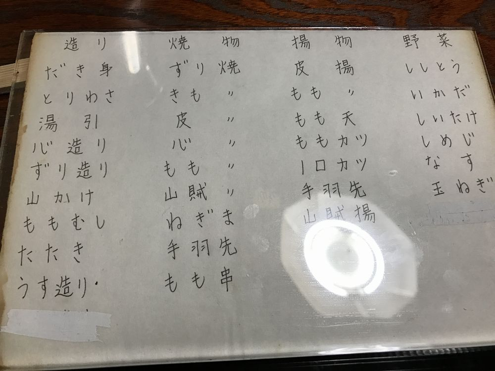 京都の焼鳥屋「あん」のメニュー1