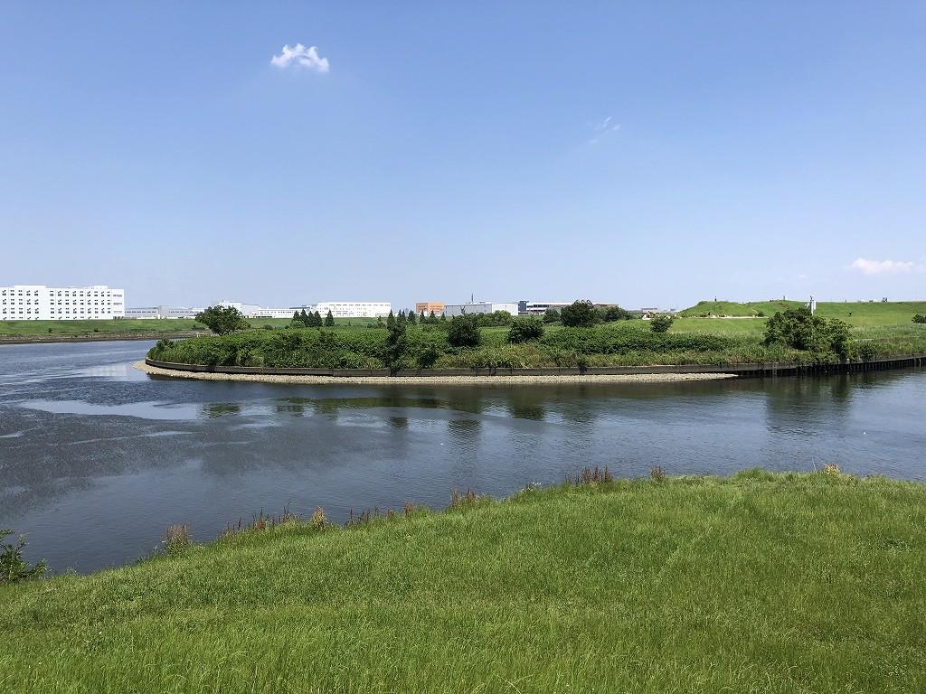赤羽の荒川の隅田川の分岐点