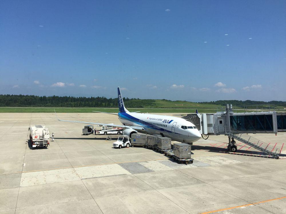 秋田空港に到着したNH403便
