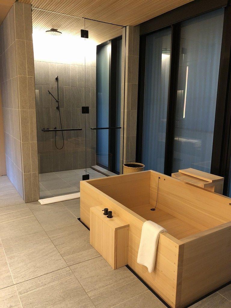 アマン京都の「芒」の檜風呂1