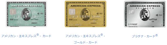 アメックスのプロパーカードのラインナップ