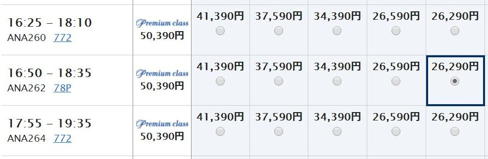 福岡-羽田(ANA262便)の料金