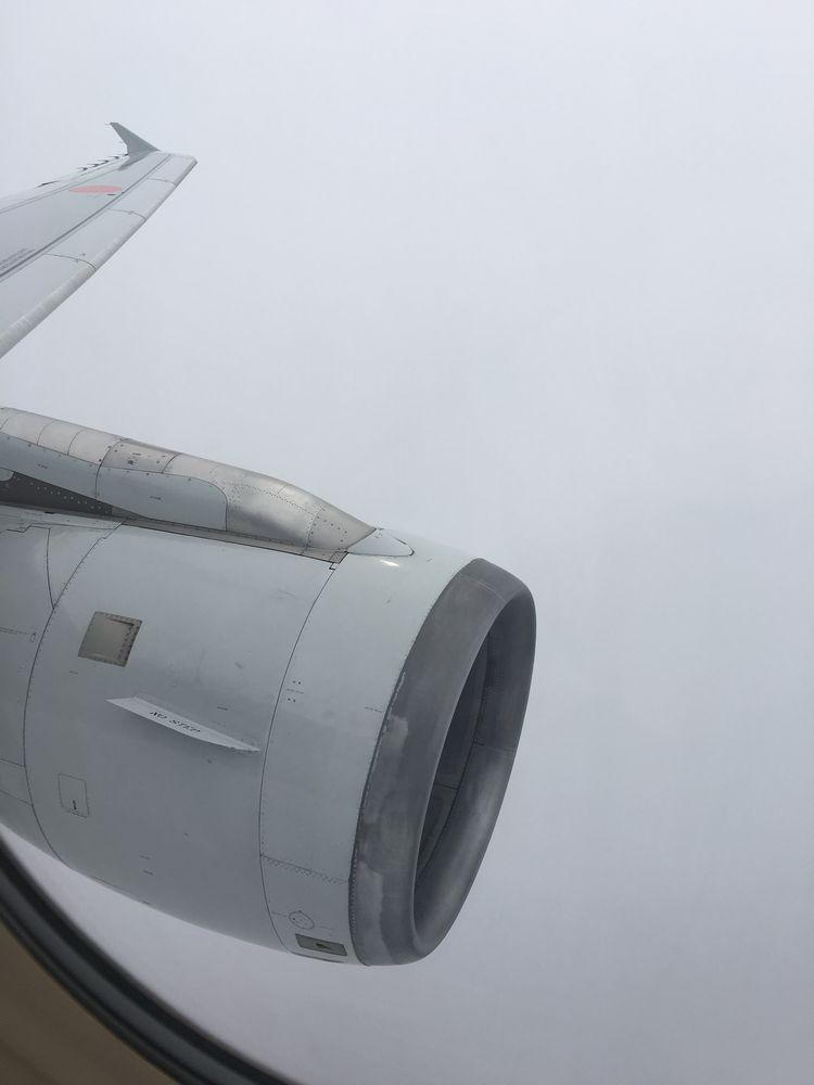 ANA383の機窓の風景(曇り)