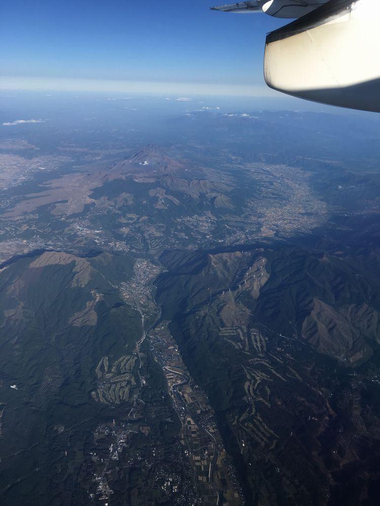 ANA4955から見た阿蘇山火口