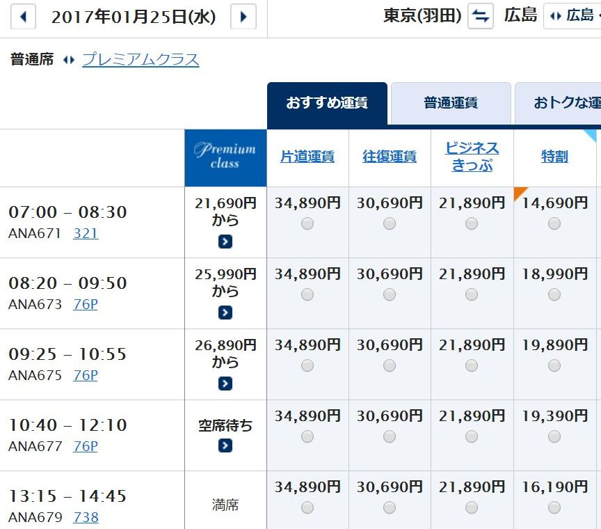 羽田-広島(ANA675便)の料金