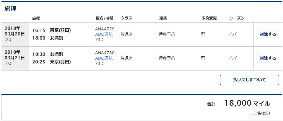 羽田-女満別の特典航空券に必要なマイル数