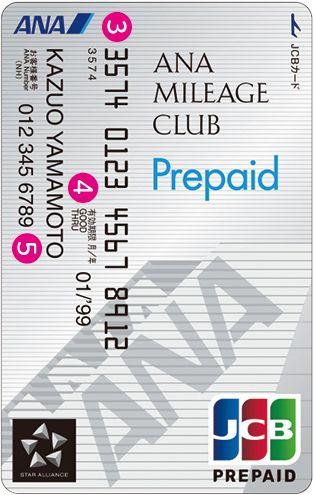 ANA JCBプリペイドカード券面デザイン