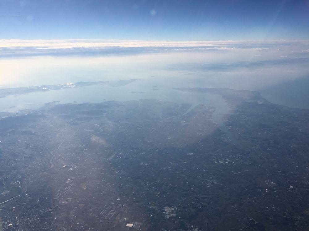 ANA533便から見た知多半島と渥美半島