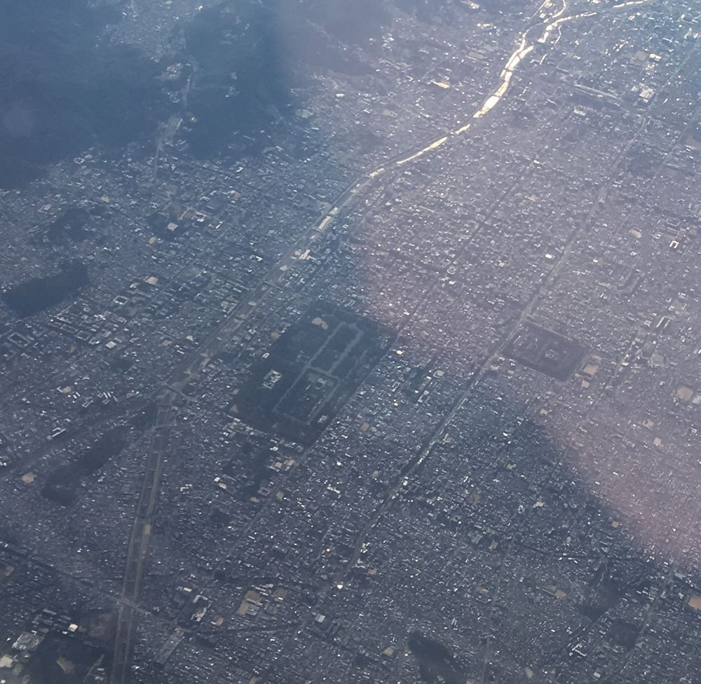 ANA533便から見た京都御所と二条城