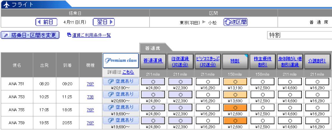 羽田-小松(ANA751便)の料金