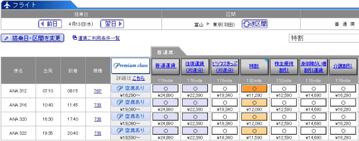富山-羽田(ANA322便)の料金