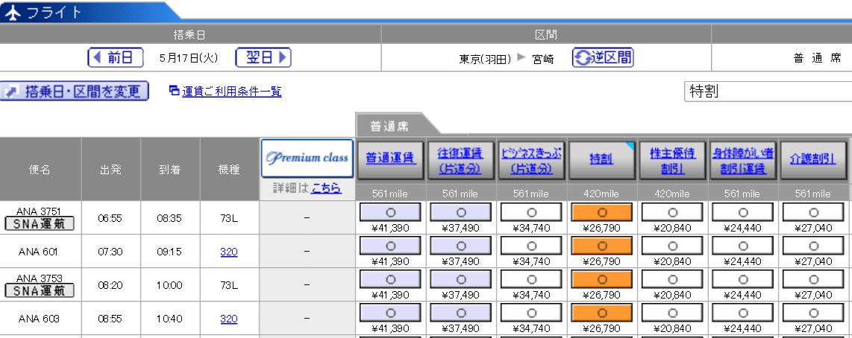 羽田-宮崎(ANA603便)の料金
