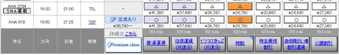 宮崎-羽田(ANA3764便)の料金