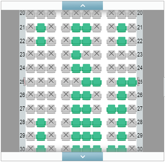 BAマイル→JAL国内線特典航空券で座席指定の範囲(一般会員)