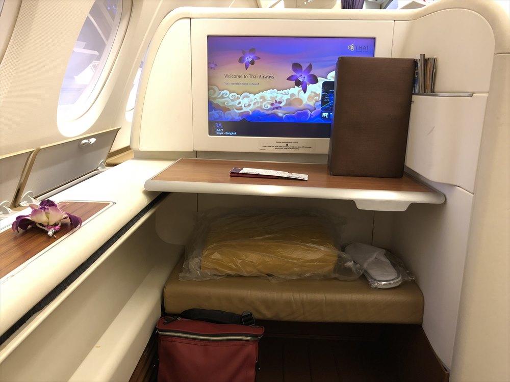 タイ国際航空(TG)エアバスA380のファーストクラスキャビン2