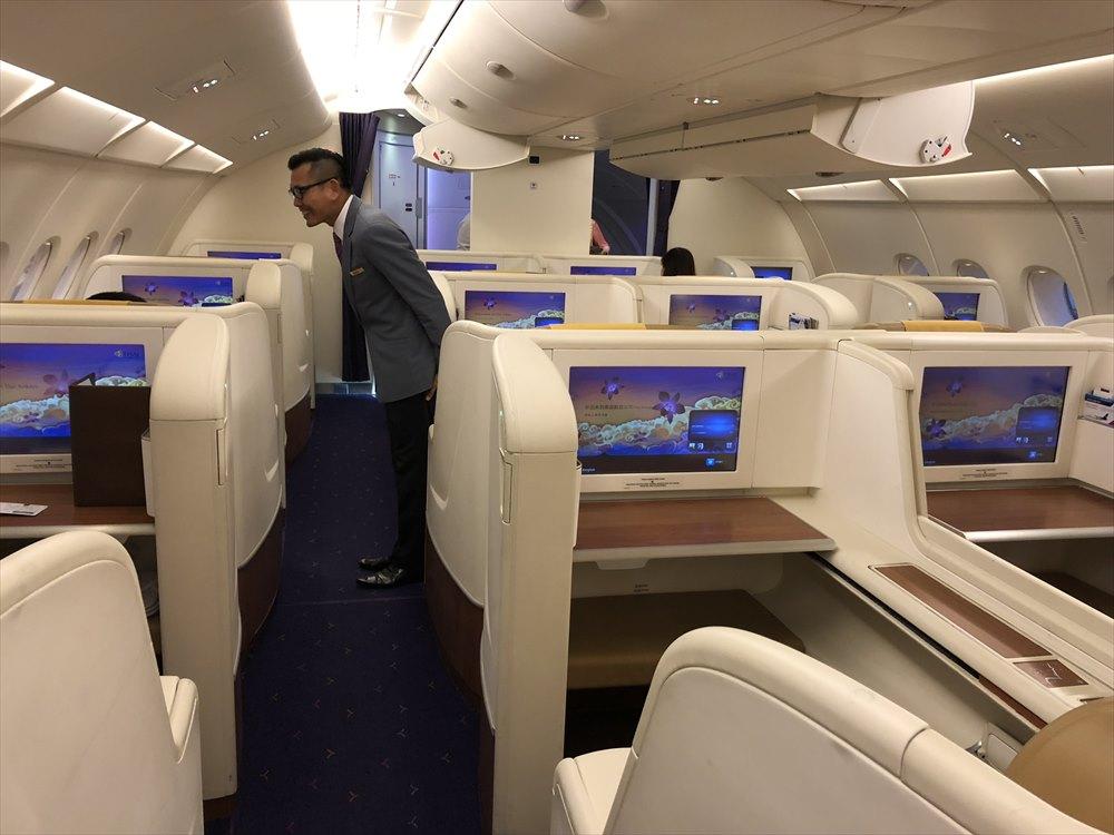 タイ国際航空(TG)エアバスA380のファーストクラスキャビン1