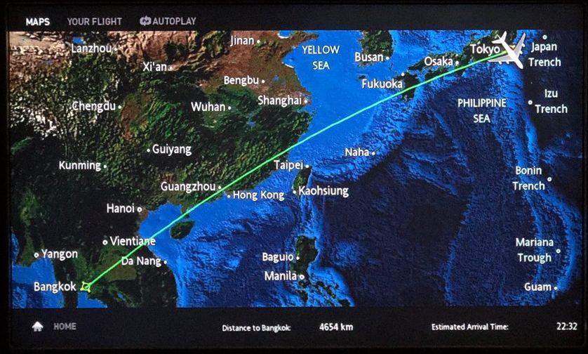 タイ国際航空(TG)677便の航路