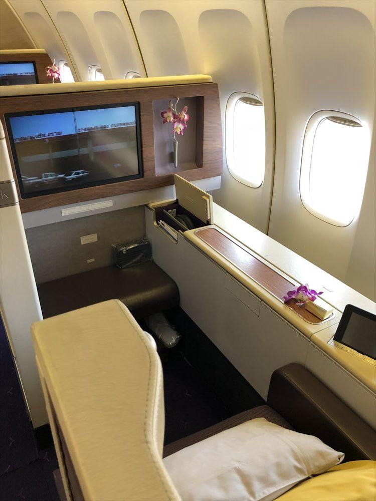B747機材のTG660便のファーストクラスのシート(2K)1