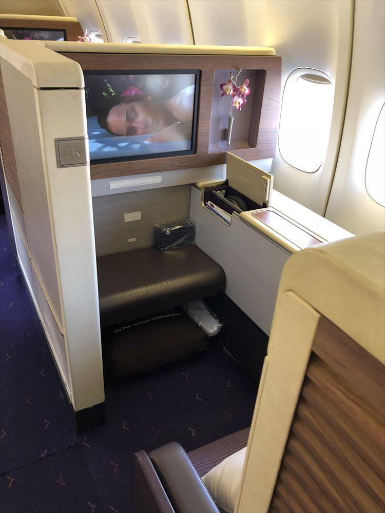 B747機材のTG660便のファーストクラスのシート(2K)2
