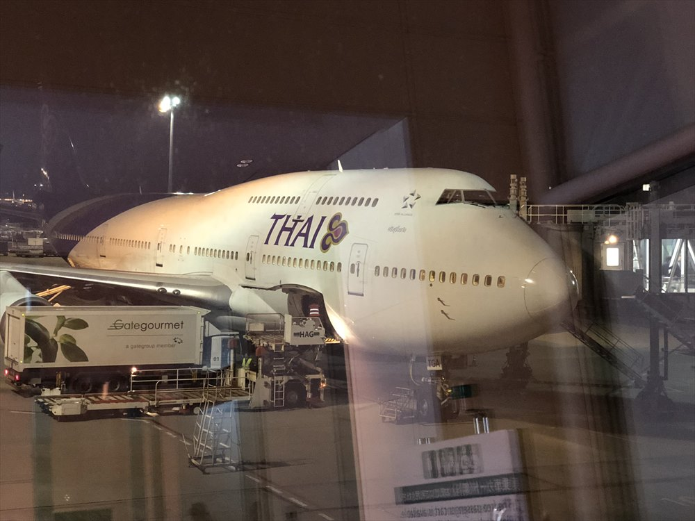羽田空港に到着したTG660便