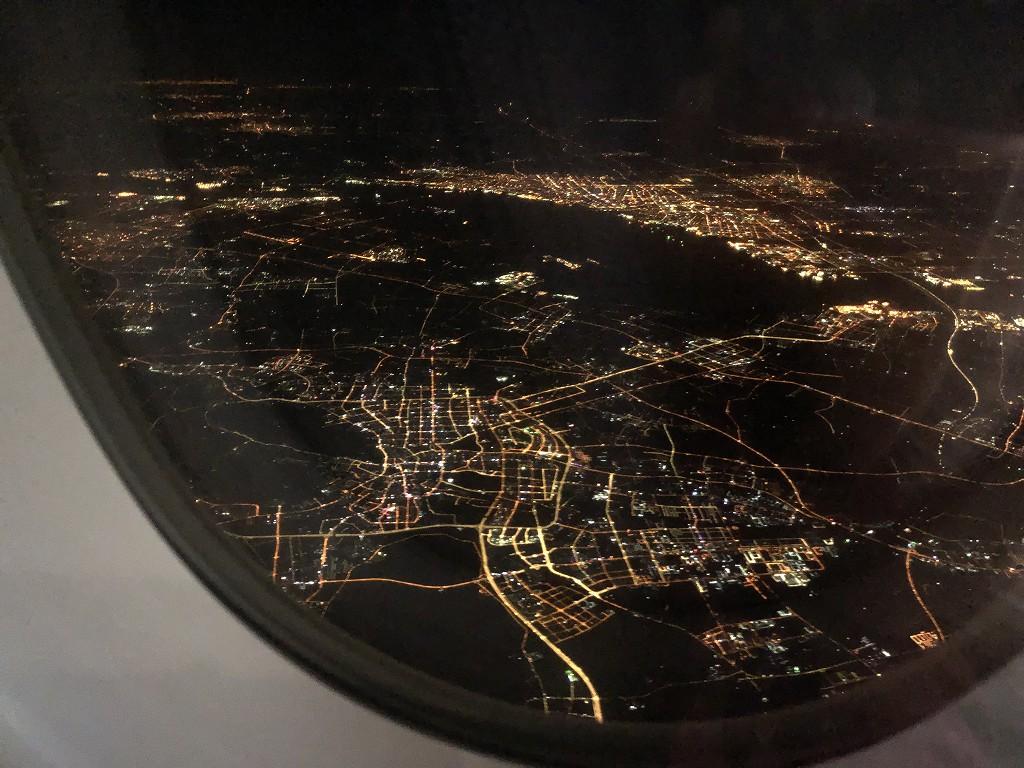 カタール航空のQR813便から上海上空