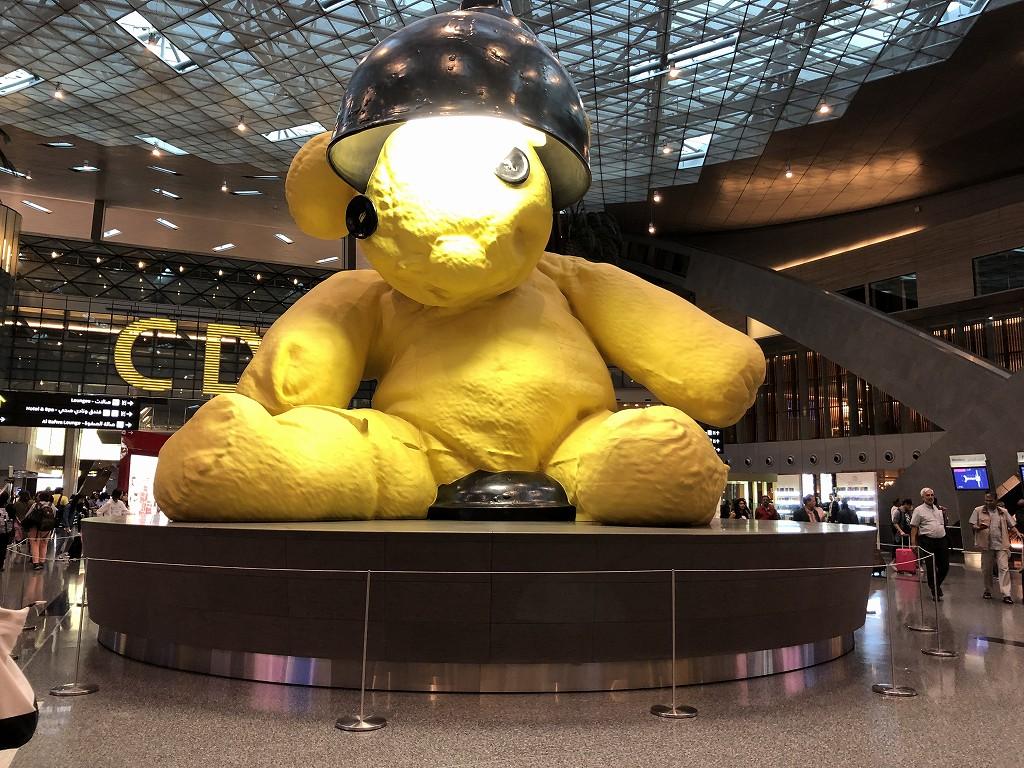 ドーハ空港 黄色いランプ・ベア