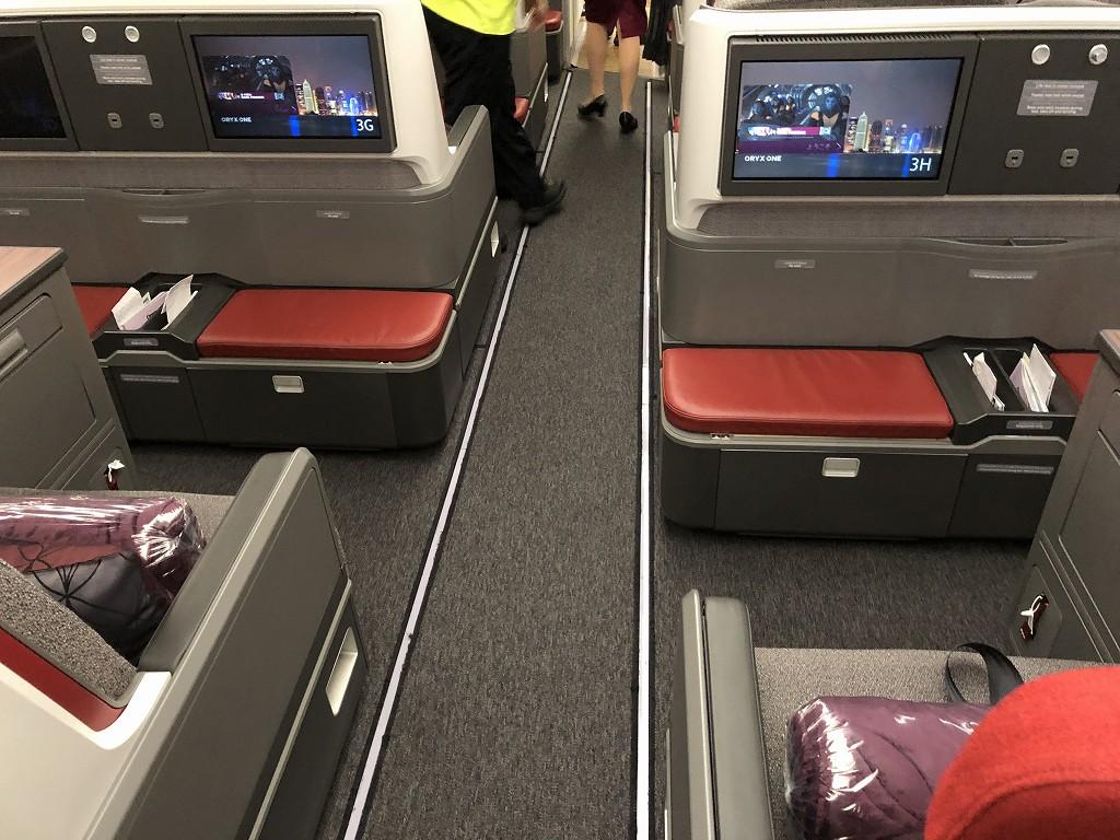 カタール航空のQR145便ビジネスクラス(A350-900機材)の座席3