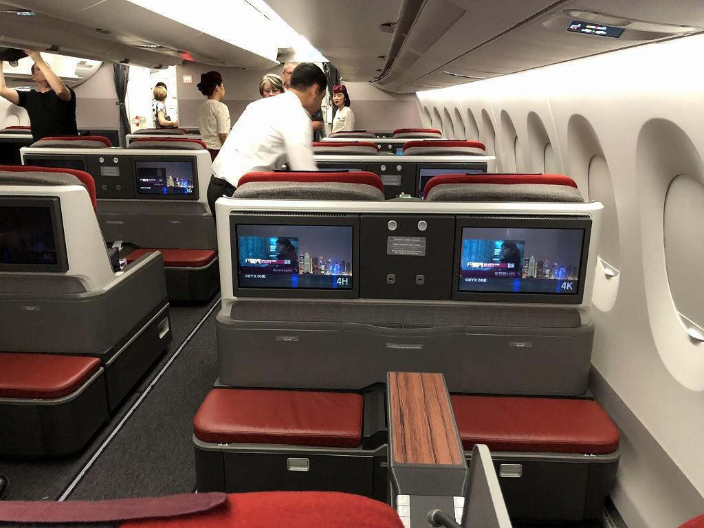 カタール航空のQR145便ビジネスクラス(A350-900機材)の座席4