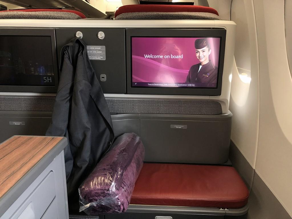 カタール航空のQR145便ビジネスクラス(A350-900機材)の座席6