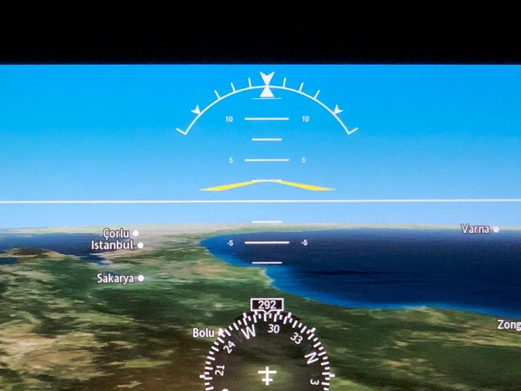 カタール航空のQR145便ビジネスクラス(A350-900機材)からのボスポラス海峡2