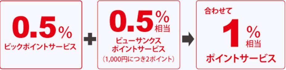 一般加盟店でもビックポイント+ビューサンクスポイントで還元率1.0%