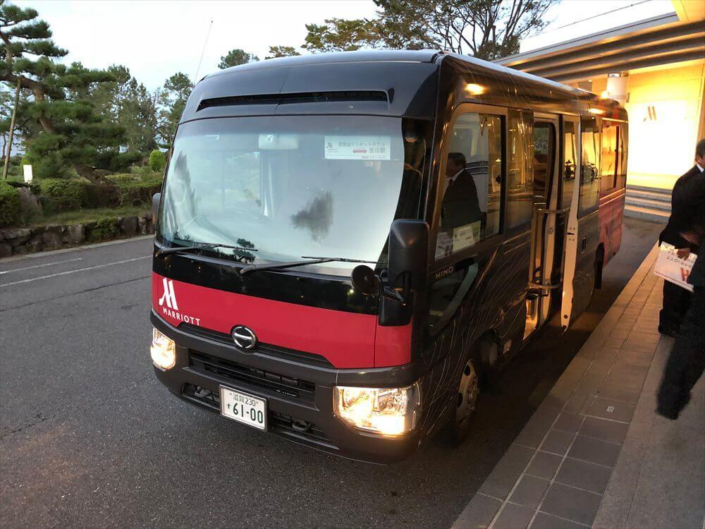 琵琶湖マリオットホテルの堅田駅行きのバス