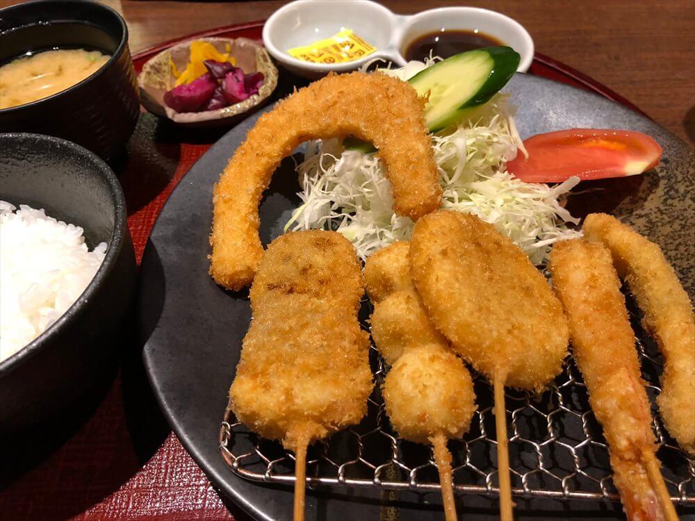 京都駅ビル内の串カツ定食
