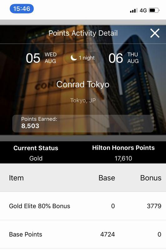 コンラッド東京ステイで獲得したヒルトン・オナーズポイント