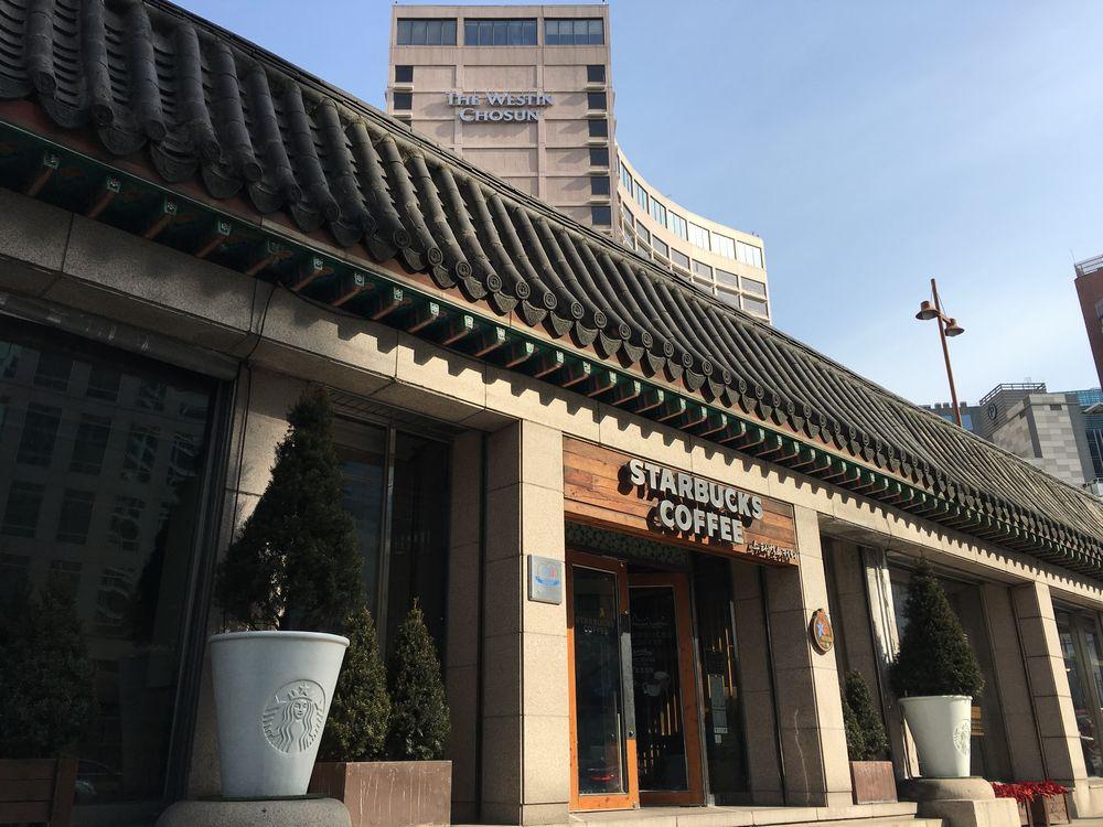 ウェスティン朝鮮ソウル近くの宮殿風スタバ2