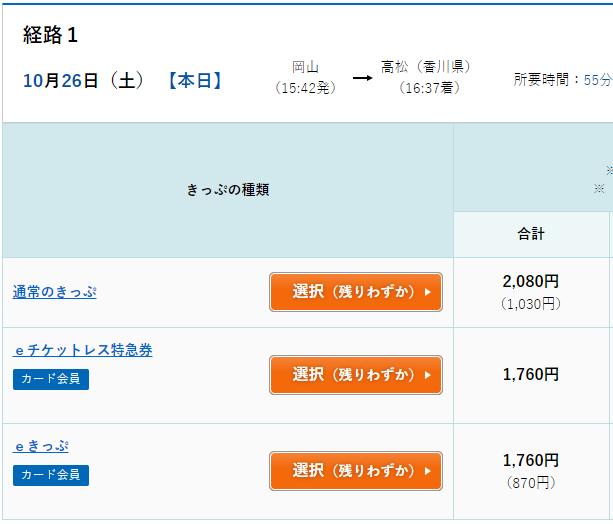 マリンライナー(岡山⇔高松)のeきっぷの料金