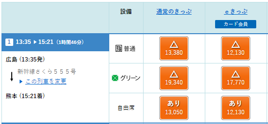 新幹線さくら555号のeきっぷの料金