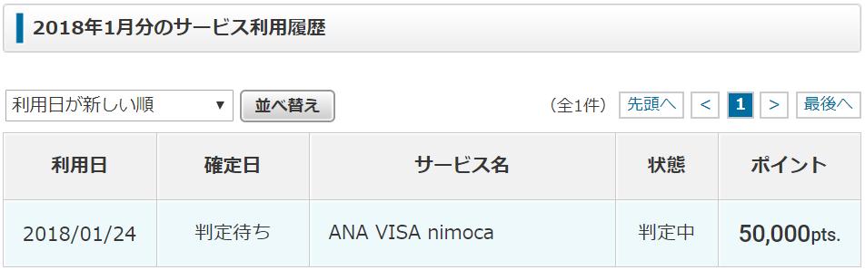 ECナビからANA VISA nimocaカード申込み