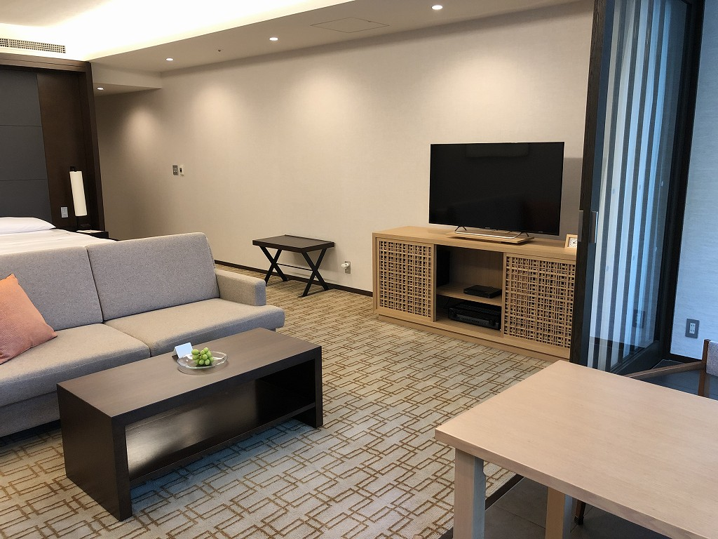 ハイアットリージェンシー箱根リゾート&スパのデラックスツインルームのソファとテレビ2