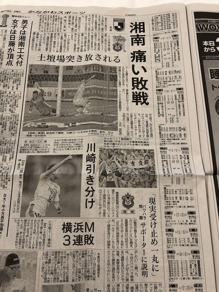神奈川新聞のスポーツ欄