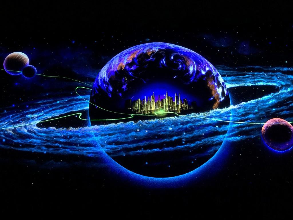 花巻の未来都市銀河地球鉄道壁画(夜)3