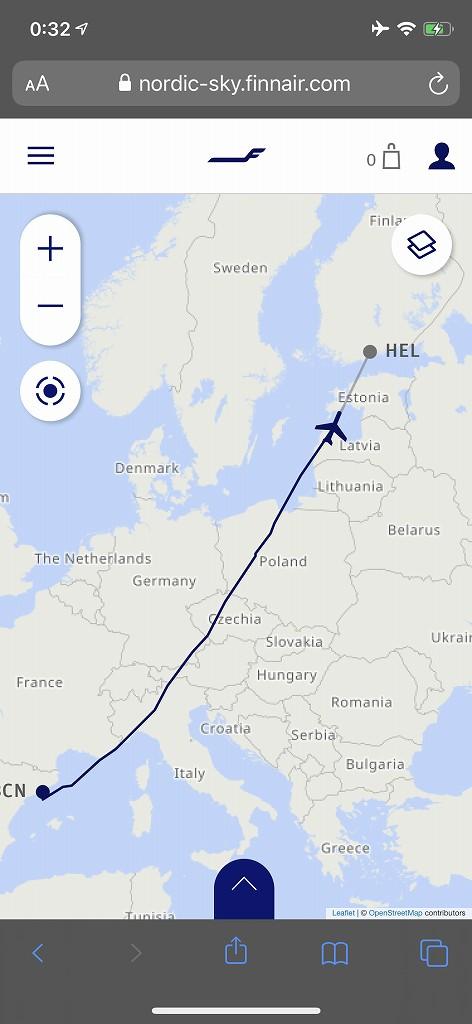 フィンエアーAY1652便の航路1
