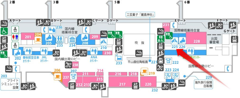 広島空港の有料待合室Bの場所