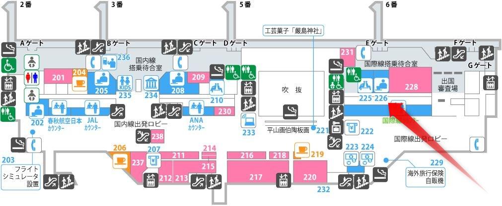 広島空港のLOUNGE「Maple」の場所
