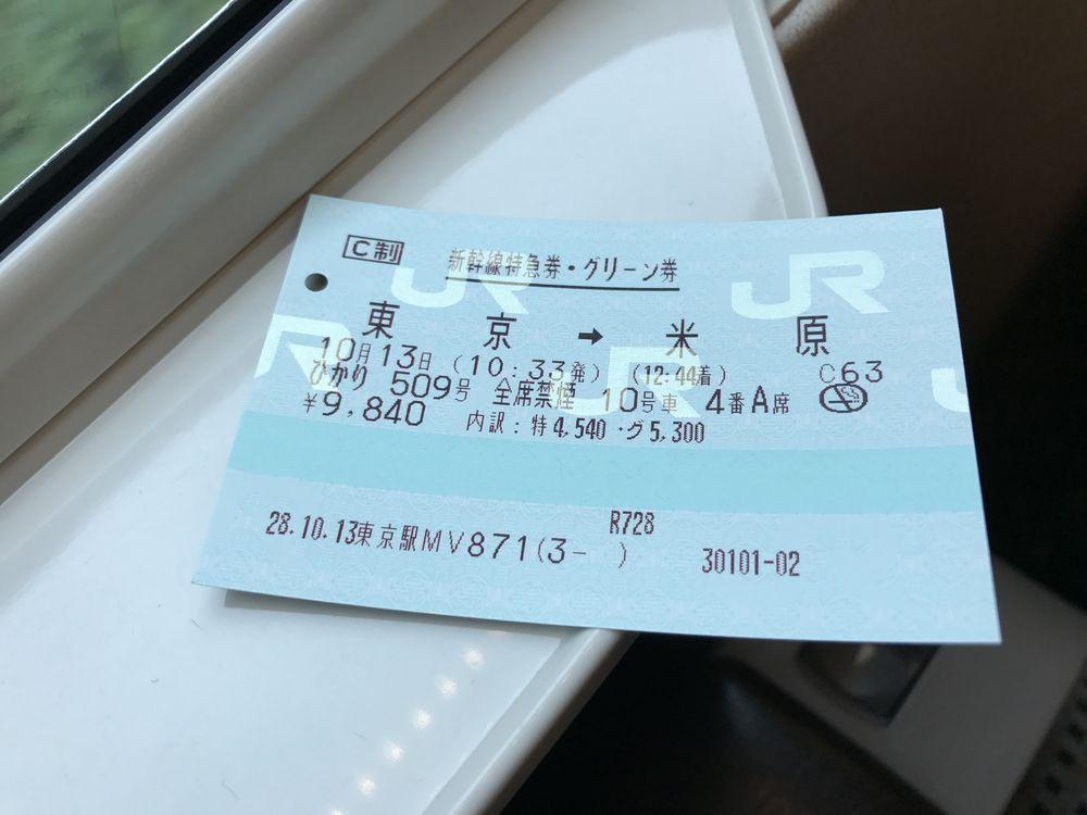 ひかり509号のグリーン券