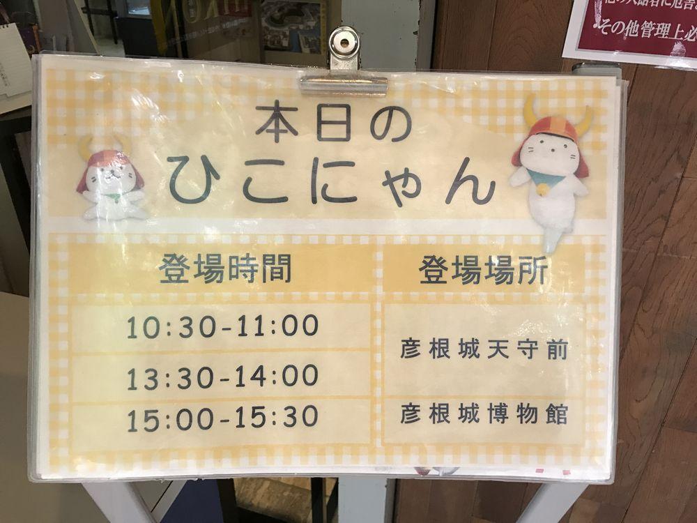 彦根城の本日のひこにゃん情報