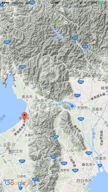 岐阜県から滋賀県への地図
